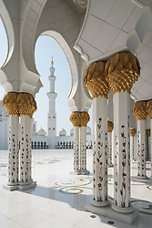 Exterior of Sheikh Zayed Grand Mosque in Abu Dhabi, United Arab Emirates, UAE