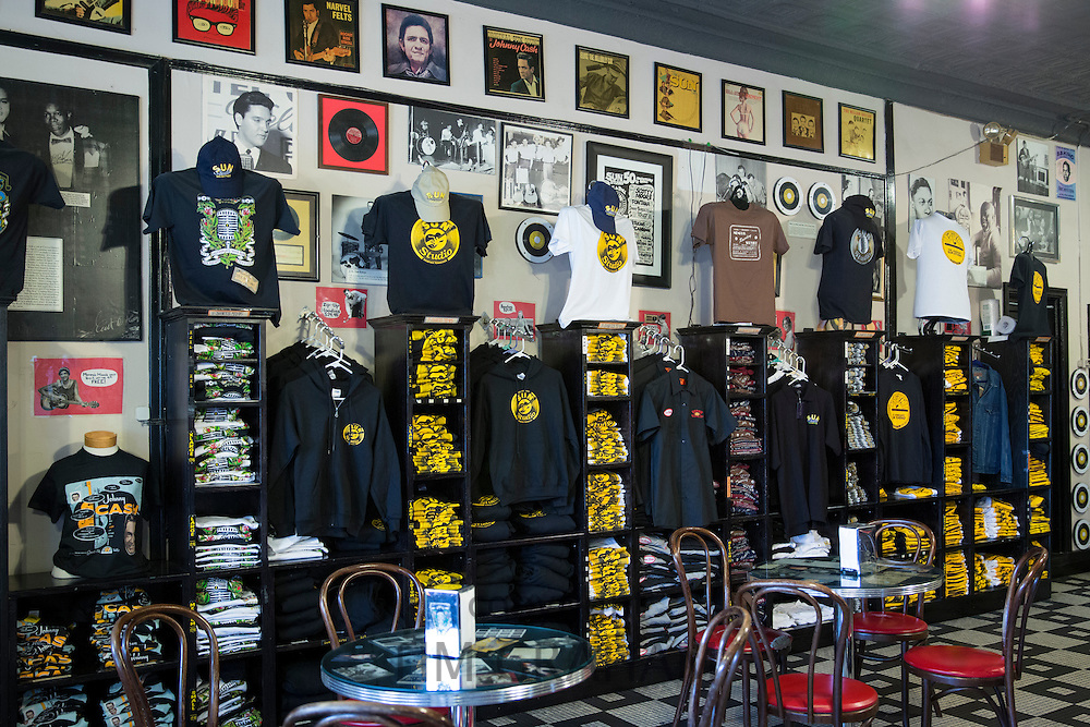 Gift shop at Sun Studio birthplace of rock and roll stars Elvis Presley, Johnny Cash, Jerry Lee Lewis, Carl Perkins, Memphis USA