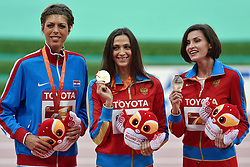30-08-2015 CHN: IAAF World Championships Athletics day 9, Beijing <br /> Huldiging hoogspringen Blanka Vlasic CRO zilver, 	Maria Kuchina RUS goud en Anna Chicherova RUS brons<br /> Photo by Ronald Hoogendoorn / Sportida
