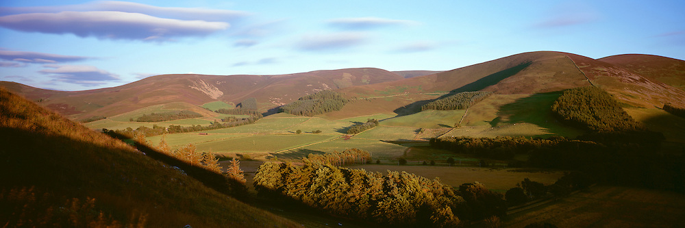 Head of the Manor Valley in the Scottish Borders, taken on the ridge of Cademuir Hill on a late summers evening