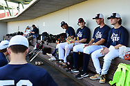 MESA, AZ - FEBRUARY 5:  Participants of the 2017 Prospect Development Pipeline Premier sit in the dugout at Sloan Park on Sunday, February 5,  2017 in Tempe, Arizona. (Photo by Jennifer Stewart/MLB Photos)