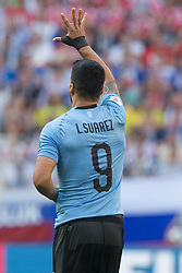 June 25, 2018 - Samara, Russia - Luis Suarez of Uruguay celebrates after scoring the opener by free kick in the first half during the 2018 FIFA World Cup Russia group A match between Uruguay and Russia at Samara Arena on June 25, 2018 in Samara, Russia. (Credit Image: © Foto Olimpik/NurPhoto via ZUMA Press)
