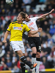 Derby Raul Abentosa beats of Brentford James Tarkowski,  Derby County v Brentford, Sy Bet Championship, IPro Stadium, Saturday 11th April 2015. Score 1-1,  (Bent 92) (Pritchard 28)<br /> Att 30,050