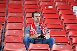 STOKE-ON-TRENT, ENGLAND - Sunday, August 9, 2015: A Liverpool supporter before the Premier League match against Stoke City at the Britannia Stadium. (Pic by David Rawcliffe/Propaganda)