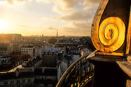 France. Paris. elevated view. Saint germain area and the eiffel tower view from  the dome of the french institute,