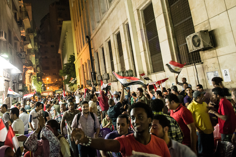 After Abdul Fattah al-Sisi, head of Egypt's armed forces, has announced in a TV speech the suspension of the constitution and has called for early presidential elections, Morsi opponents celebrate in downtown Cairo, Egypt, July 3, 2013