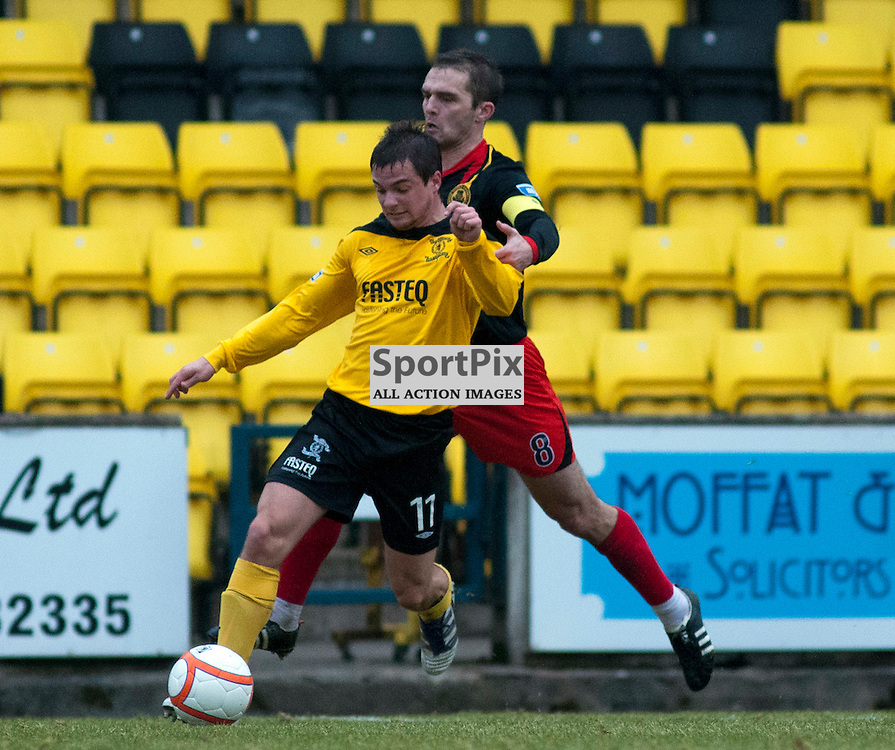 Keaghan Jacobs is pulled back by David Rowson, Livingston v Partick Thistle, SFL Division 1, Braidwood Motor Company Stadium,