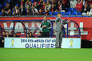 Wales manager Chris Coleman makes a point. World cup 2014 qualifying match, Group A, Wales v Belgium at the Cardiff city stadium in Cardiff, South Wales on Friday 7th Sept 2012.  pic by  Andrew Orchard, Andrew Orchard sports photography,