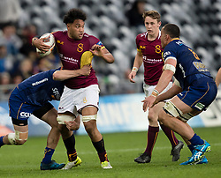 Southland's Tupou Sopoaga , left, looks to evade the tackle of Otago's Sione Teu, right, in the Mitre 10 Cup rugby match, Forsyth Barr Stadium, Dunedin, New Zealand, Sunday, October 14 2017.  Credit:SNPA / Adam Binns ** NO ARCHIVING**