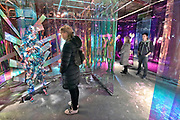 Nederland, the Netherlands, Eindhoven, 29-10-2017 Tijdens de Dutch designweek kan het publiek op Strijp bij het Klokgebouw, het eindexamenwerk zien van de studenten van de designacademie. In de voormalige v en d in de binnenstad zijn modeontwerpen te zien.  Mode, kleding, Projecten van alle afgestudeerden van Design Academy. Ook is er een beurs met innovatieve producten en ideeen. Alles is te zien in o.a de oude fabrieken van Philips, het industrieel erfgoed van de stad. Ook veel aandacht voor robotisering, privacy issues en big data toepassingen. Hiet zitten veel startups, jonge bedrijfjes die iets nieuws in de markt willen zetten. FOTO: FLIP FRANSSEN