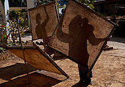 Handcrafted pater and umbrella making near Porta Lake, Burma