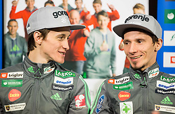 Peter Prevc and Robert Kranjec during press conference of Slovenian Ski jumping team after World Cup competitions in Vikersund, on February 16, 2016 in Maximarket, Ljubljana, Slovenia. Photo by Vid Ponikvar / Sportida