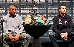 Dec 13; New York, NY, USA; Andre Ward (left) and Carl Froch (right) at the final press conference for their fight.  The two will meet at Boardwalk Hall in Atlantic City, NJ on Saturday, December 17, 2011.