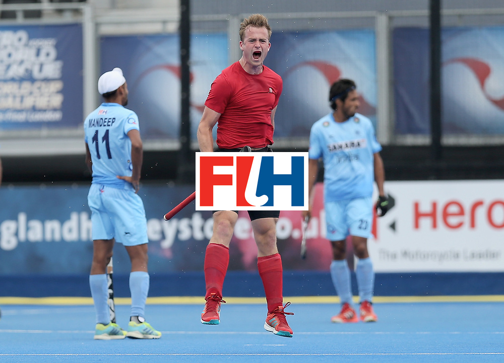 LONDON, ENGLAND - JUNE 25:  Gordan Johnston of Canada celebrates scoring their teams third goal during the 5th/6th place match between India and Canada on day nine of the Hero Hockey World League Semi-Final at Lee Valley Hockey and Tennis Centre on June 25, 2017 in London, England.  (Photo by Alex Morton/Getty Images)