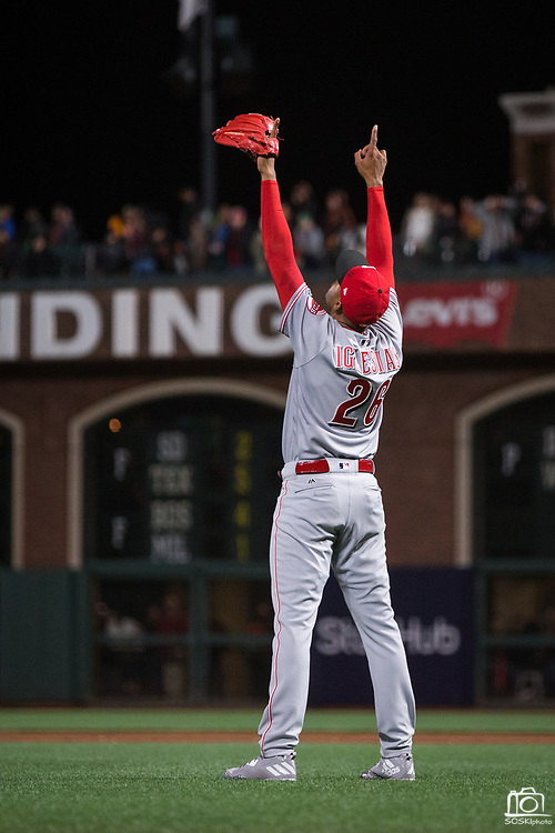 Cincinnati Reds relief pitcher Raisel Iglesias (26) celebrates a win over the San Francisco Giants at AT&T Park in San Francisco, California, on May 11, 2017. (Stan Olszewski/Special to S.F. Examiner)