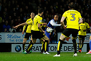 Ipswich Town striker David McGoldrick (10) has a shot through the Burton Albion defence during the EFL Sky Bet Championship match between Burton Albion and Ipswich Town at the Pirelli Stadium, Burton upon Trent, England on 14 April 2017. Photo by Richard Holmes.