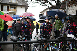 CANYON//SRAM Racing riders wait for the start of the Trofeo Alfredo Binda - a 131,1 km road race, between Taino and Cittiglio on March 18, 2018, in Varese, Italy. (Photo by Balint Hamvas/Velofocus.com)