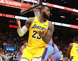 February 12, 2019 - Atlanta, GA, USA - Los Angeles Lakers' LeBron James looks for a foul call he didn't get against the Atlanta Hawks during the second half on Tuesday, Feb. 12, 2019 in Atlanta, Ga. The Lakers fell to the Hawks 117-113. (Credit Image: © Curtis Compton/Atlanta Journal-Constitution/TNS via ZUMA Wire)