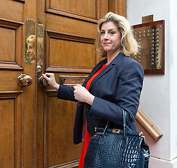 © Licensed to London News Pictures . 07/07/2016 . London , UK . Minster of State for Armed Forces , PENNY MORDAUNT , arrives at the Westminster home of Conservative Party leadership candidate Andrea Leadson in Westminster , this morning (Thursday 7th July 2016) . Photo credit : Joel Goodman/LNP