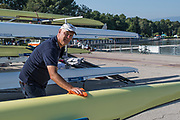 Plovdiv BULGARIA. 2017 FISA. Rowing World U23 Championships. <br /> GBRowing U23 Team Manager, Pete SHEPPARD.<br /> Friday Boat Area. Boat Racks Pontoons.<br /> <br /> 08:48:46  Friday  21.07.17   <br /> <br /> [Mandatory Credit. Peter SPURRIER/Intersport Images].