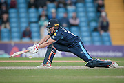 Gary Ballance (Yorkshire CCC) stretches to reverse sweep a ball for four runs during the Royal London 1 Day Cup match between Yorkshire County Cricket Club and Durham County Cricket Club at Headingley Stadium, Headingley, United Kingdom on 3 May 2017. Photo by Mark P Doherty.
