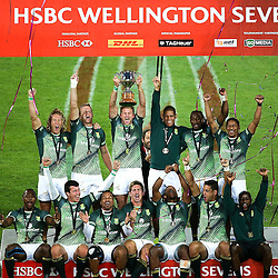 South Africa celebrate winning the 2017 HSBC World Sevens Series Wellington day two at Westpac Stadium in Wellington, New Zealand on Sunday, 29 January 2017. Photo: Martin Hunter / lintottphoto.co.nz