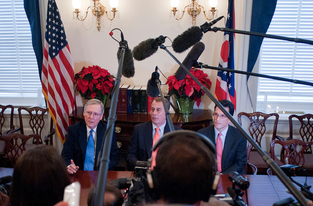 Nov 30, 2010 - Washington, District of Columbia, U.S. - Senator MITCH MCCONNELL (R-KY), House Minority Leader JOHN BOEHNER (R-OH) and House Minority Whip ERIC CANTOR (R-VA) meet with the press following a meeting with President Obama on Tuesday. (Credit Image: © Pete Marovich/ZUMA Press)