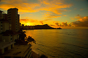Sunrise, Diamond Head, Waikiki Beach, Oahu, Hawaii