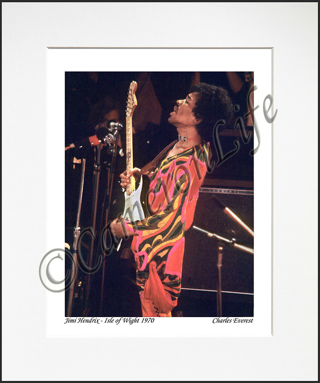 Jimi Hendrix - An affordable archival quality matted print ready for framing at home.<br /> Ideal as a gift or for collectors to cherish, printed on Fuji Crystal Archive photographic paper set in a neutral mat (all mounting materials are acid free conservation grade). <br /> The image (approx 6&quot;x8&quot;) sits within a titled border. The outer dimensions of the mat are approx 10&quot;x12&quot;