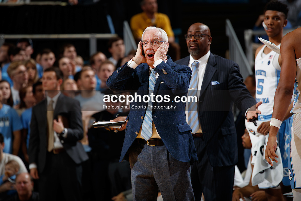 CHAPEL HILL, NC - JANUARY 26: Head coach Roy Williams of the North Carolina Tar Heels reacts with surprise against the Virginia Tech Hokies on January 26, 2017 at the Dean Smith Center in Chapel Hill, North Carolina. North Carolina won 91-72. (Photo by Peyton Williams/UNC/Getty Images) *** Local Caption *** Roy Williams