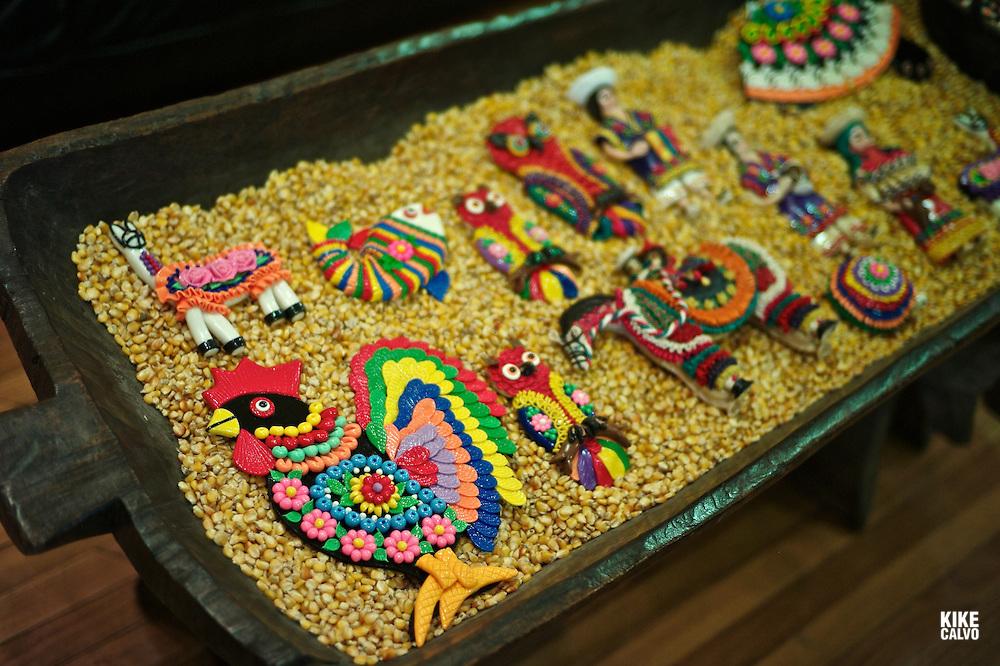 Ecuadorian art pieces made in Mazapan from Calderon village, exhibited at Olga Fisch high-end boutique