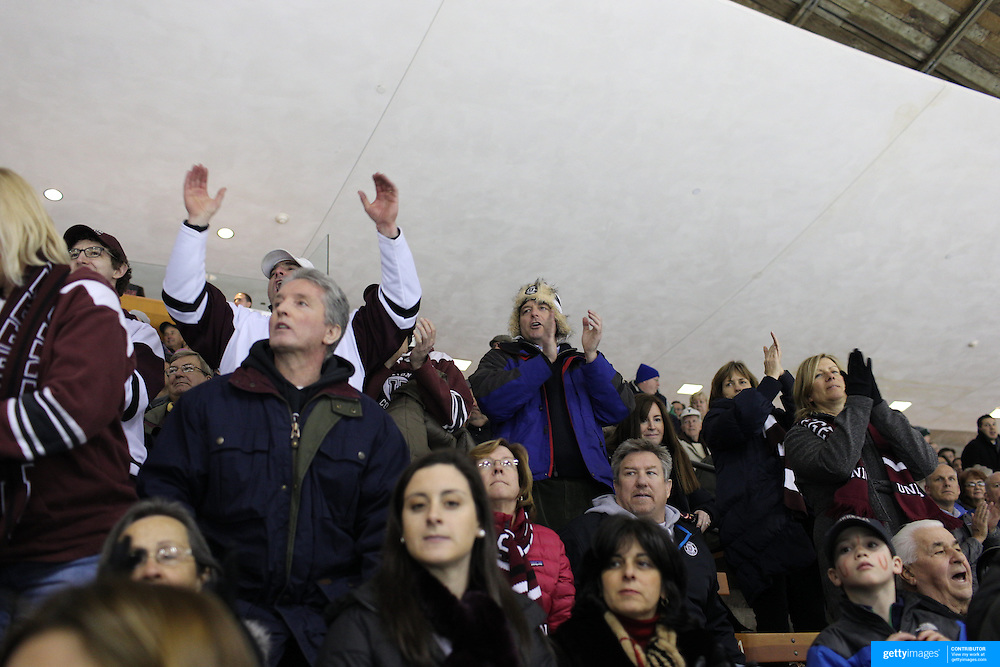 Union College supporters during the Yale Vs Union College, Men's College Ice Hockey game at Ingalls Rink, New Haven, Connecticut, USA. 28th February 2014. Photo Tim Clayton