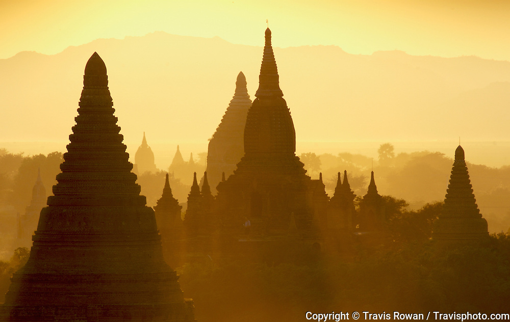 Silhouettes of the massive temple spires in the Bagan region of Myanmar. The temples of Bagan date back more than 1100 years.