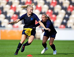 NEWPORT, WALES - Thursday, August 30, 2018: England's Toni Duggan (left) during a training session at Rodney Parade ahead of the final FIFA Women's World Cup 2019 Qualifying Round Group 1 match between Wales and England. (Pic by David Rawcliffe/Propaganda)