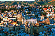 MEXICO, GUANAJUATO skyline with University and Basilica