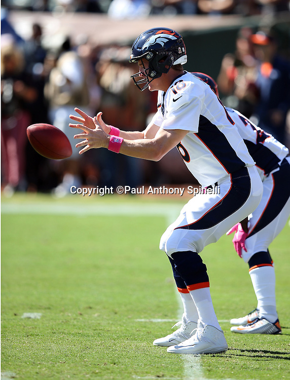 Denver Broncos quarterback Peyton Manning (18) catches a snap in the shotgun formation during the 2015 NFL week 5 regular season football game against the Oakland Raiders on Sunday, Oct. 11, 2015 in Oakland, Calif. The Broncos won the game 16-10. (©Paul Anthony Spinelli)
