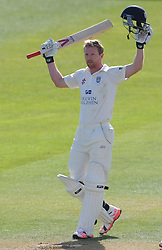 Durham's Paul Collingwood celebrates his century. - Photo mandatory by-line: Harry Trump/JMP - Mobile: 07966 386802 - 13/04/15 - SPORT - CRICKET - LVCC County Championship - Day 2 - Somerset v Durham - The County Ground, Taunton, England.