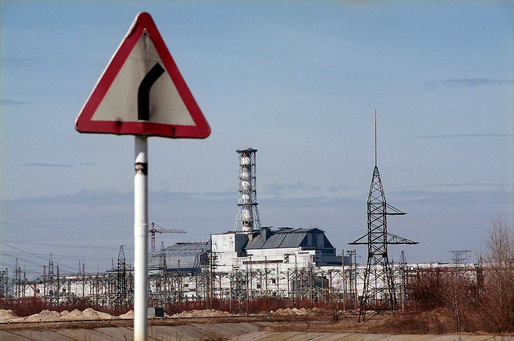 Ukraine 2001...The burnt out reactor in Chernobyl, now covered by a concrete sarcophagos...Photo: Markus Marcetic/MOMENT