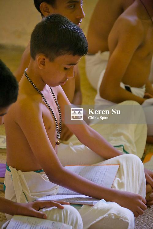 Learning Panchavadyam drum at Kalamandalam dancing school, Cheruthuruthy, Kerala State, India