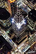 Aerial view of the Chrysler Building in New York City photographed from a helicopter at night.