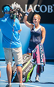 Dominika Cibulkova of Slovakia faced Simona Halep of Romania in Day 10 of the Australian Open and quickly dispatched her opponent 6-3, 6-0. The match was held at Melbourne's Rod Laver Arena.  Here, Cibulkova celebrates her victory.