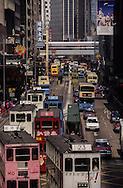 Hong Kong. Tramway in central , at business time;   / tramways dans  - central  -  . líheure de sortie des bureaux;   / R00092/36    L940323b  /  P0001839