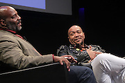 NEW YORK, NY-NOVEMBER 16: (L-R) Dr. Jelani Cobbs,  Music Producer Timbaland attend 'Between The Lines' series featuring Music Producer Timbaland new book ' The Emperor of Sound' held at the The Schomburg Center for Research in Black Culture on November 16, 2015 in Harlem, New York City.  (Photo Terrence Jennings/terrencejennings.com)