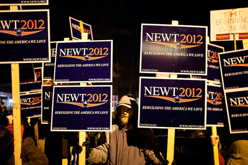 Supporters of Republican presidential candidate Newt Gingrich rally outside the site of the WMUR/ABC News Debate at Saint Anselm College on Saturday, January 7, 2012 in Manchester, NH. Brendan Hoffman for the New York Times