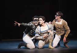 "© Licensed to London News Pictures. 17/04/2013. London, England. L-R: Piotr Stanczyk as Mercutio, Guillaume Côté as Romeo and Robert Stephen as Benvolio. Canada's premier dance company ""The National Ballet of Canada"" returns to London after 26 years with its new production of Romeo and Juliet, which was created in 2011 to mark the company's 60th anniversary. Choreographed by former Bolshoi Ballet director Alexei Ratmansky to Prokofiev's score with Heather Ogden as Juliet and Guillaume Côté as Romeo. Photo credit: Bettina Strenske/LNP"
