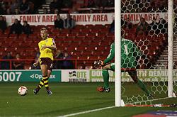 Scott Arfield of Burnley (L) misses a goal scoring opportunity - Mandatory byline: Jack Phillips / JMP - 07966386802 - 20/10/2015 - FOOTBALL - The City Ground - Nottingham, Nottinghamshire - Nottingham Forest v Burnley - Sky Bet Championship
