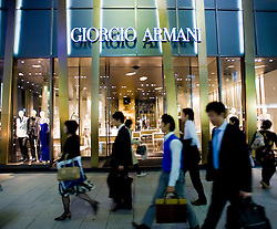 Exterior view of new Giorgio Armani Tower fashion store in Ginza Tokyo Japan