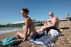 UK ENGLAND BRIGHTON 8SEP16 - Mimmi Elvinsson (40)  of Sweden und Miguel Fernandez Castillo (47) of Madrid enjoy the Brighton beach front.<br /> <br /> jre/Photo by Jiri Rezac<br /> <br /> &copy; Jiri Rezac 2016