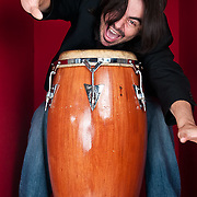 Portrait of Alberto Lopez, percussionist for Rumbankete, a Los Angeles, California-based salsa orchestra, taken in Woodland Hills, Calif., on April 3, 2010, for the band's promotional use and album cover.  Photo by Jen Klewitz.  (Jen Klewitz © 2010)