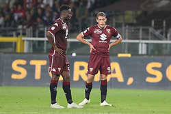 October 5, 2018 - Turin, Piedmont, Italy - Soualiho Meit (Torino FC) and Andrea Belotti (Torino FC) during the Serie A football match between Torino FC and Frosinone Calcio at Olympic Grande Torino Stadium on October 05, 2018 in Turin, Italy..Torino won 3-2 over Frosinone. (Credit Image: © Massimiliano Ferraro/NurPhoto/ZUMA Press)